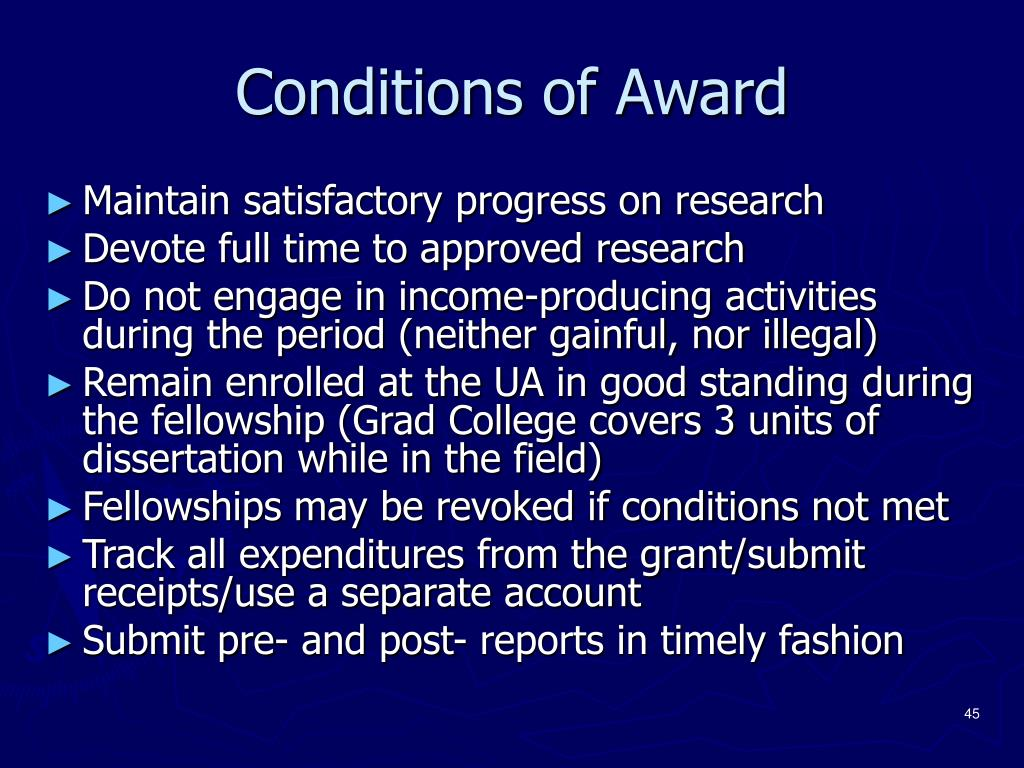 Conditions of Award