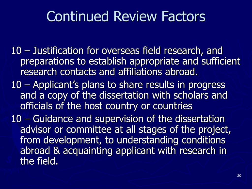 Continued Review Factors
