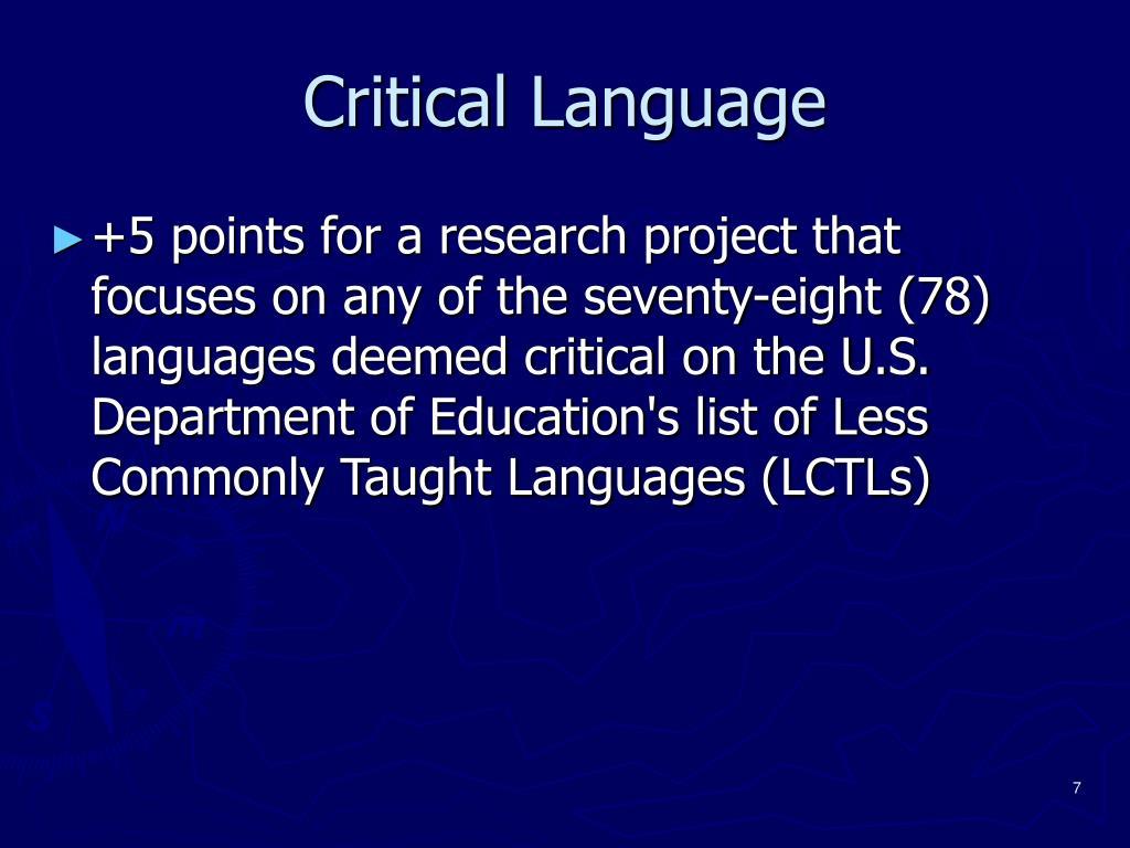 Critical Language