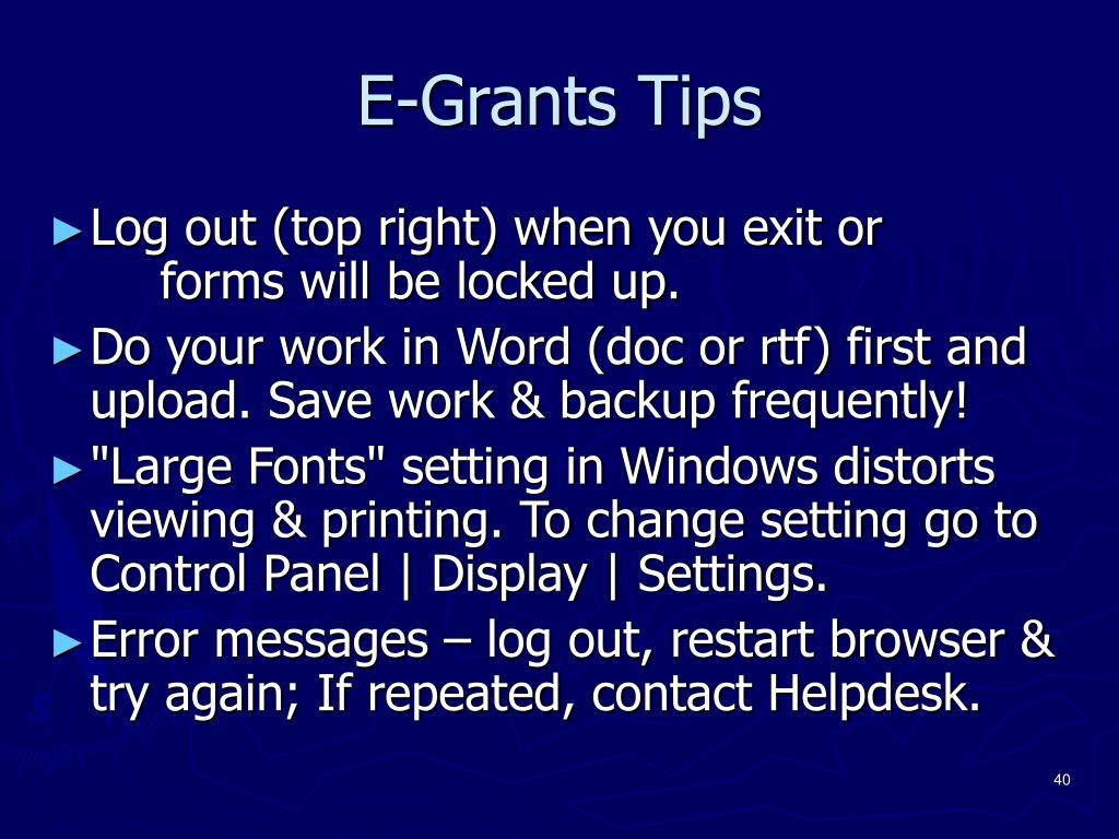 E-Grants Tips