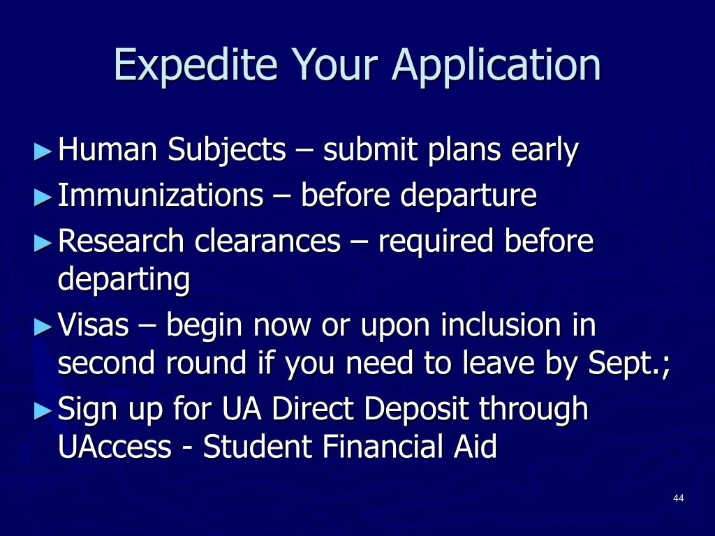 Expedite Your Application