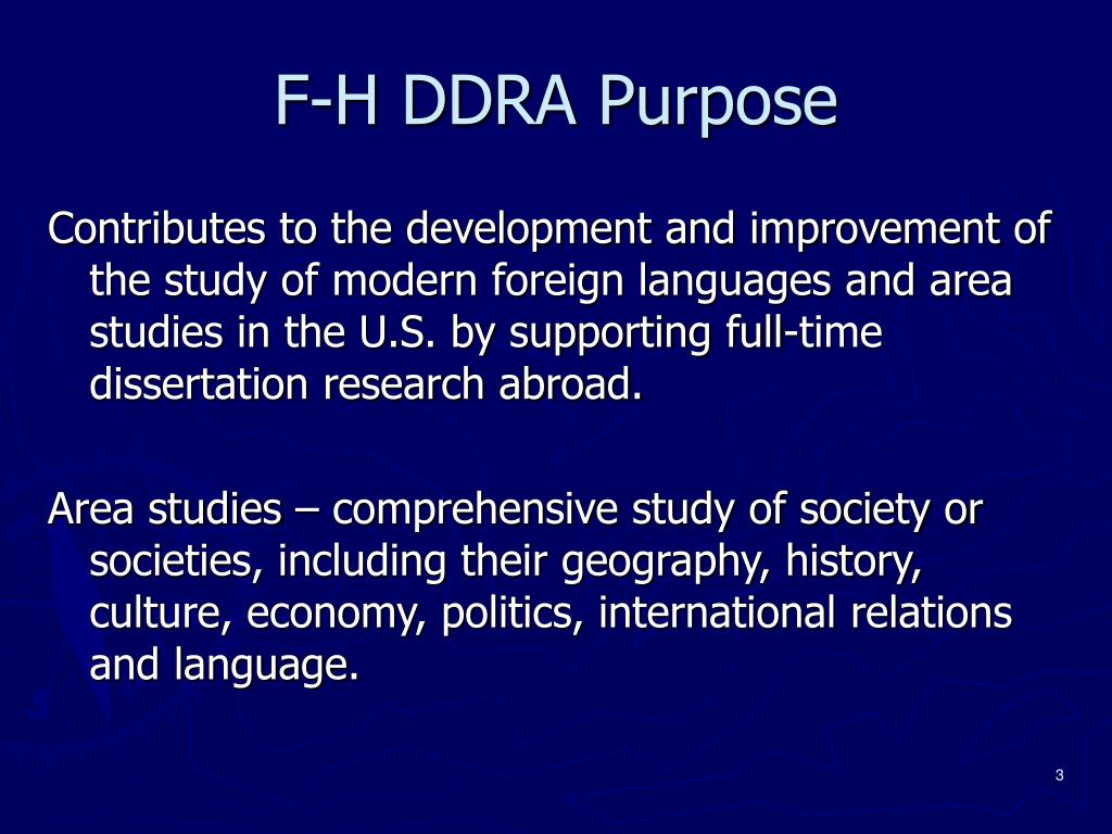 F-H DDRA Purpose