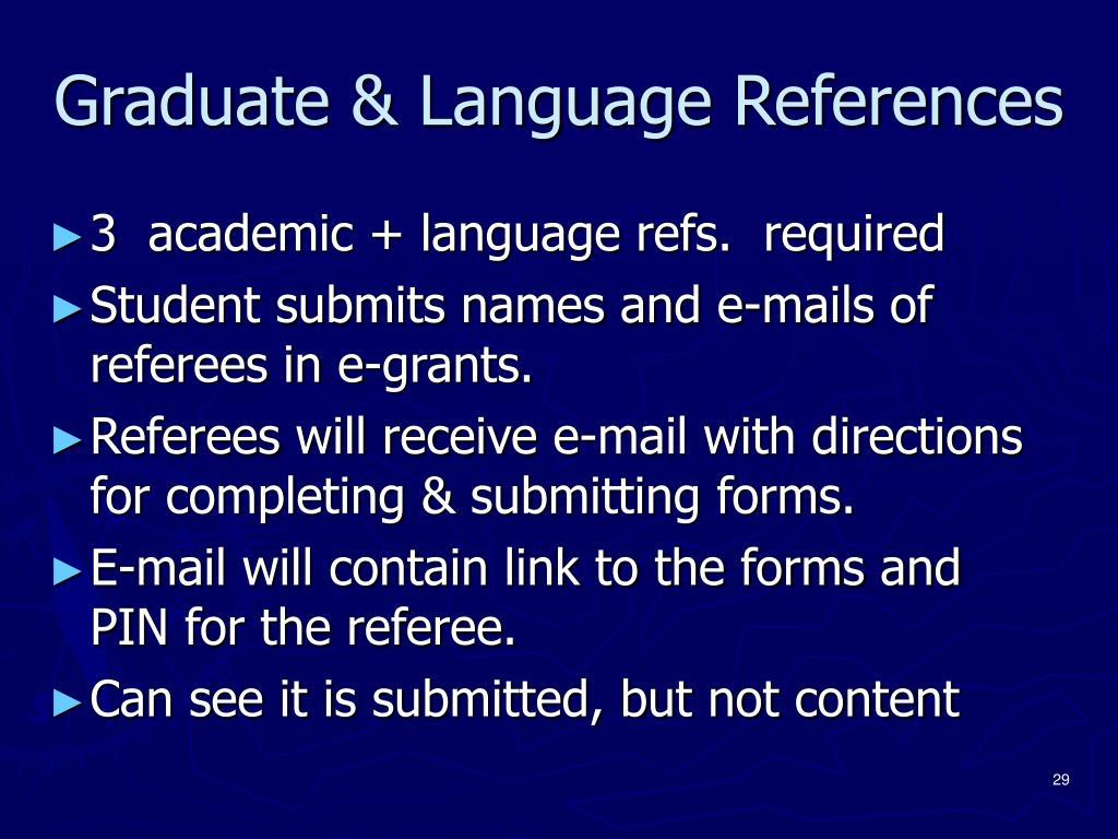 Graduate & Language References