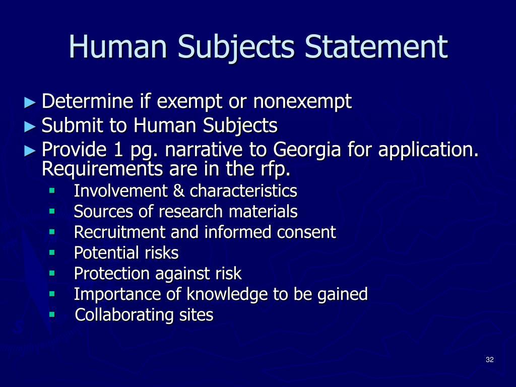 Human Subjects Statement