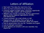 letters of affiliation
