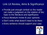 link lit review aims significance