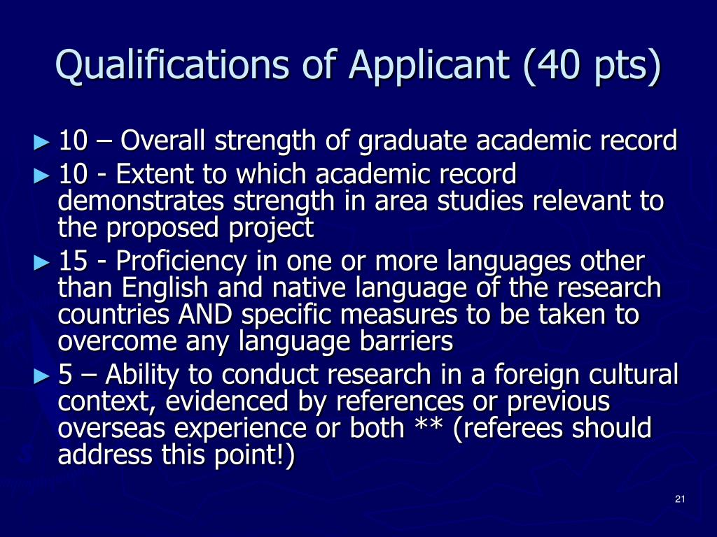 Qualifications of Applicant (40 pts)