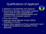 qualifications of applicant