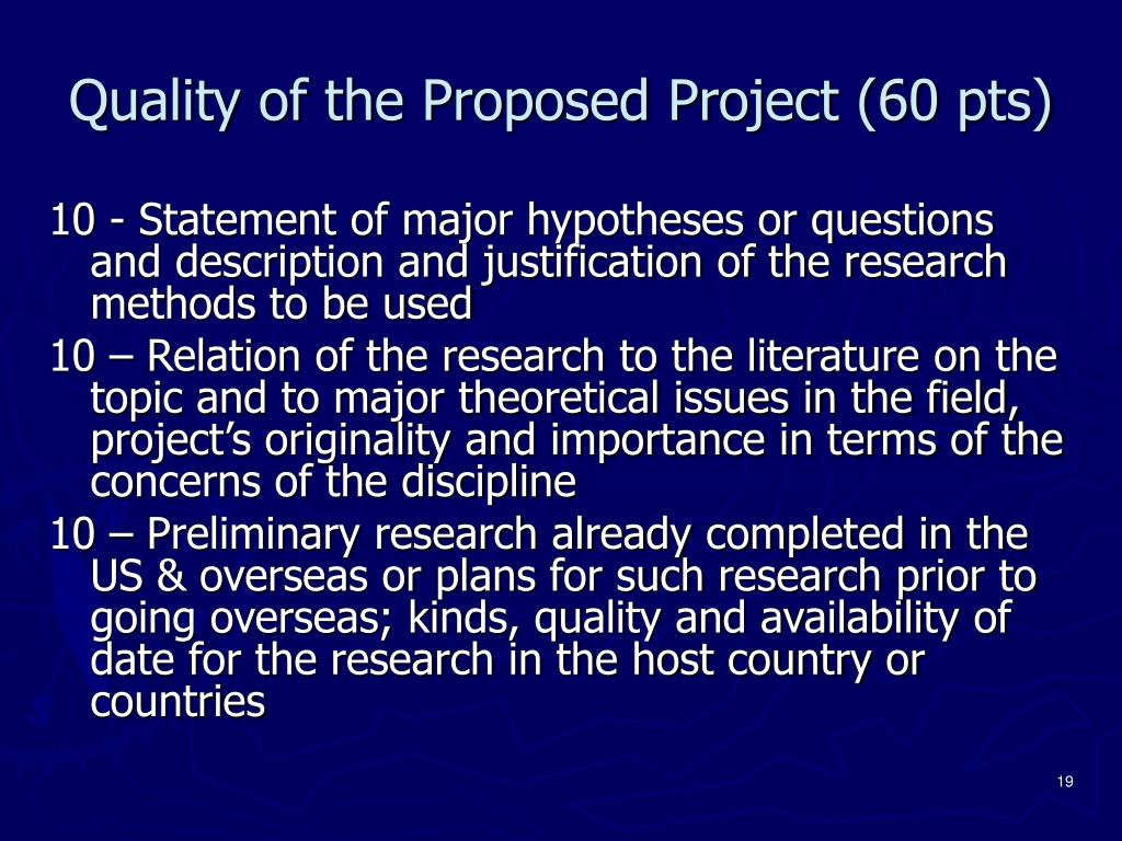 Quality of the Proposed Project (60 pts)