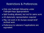 restrictions preferences