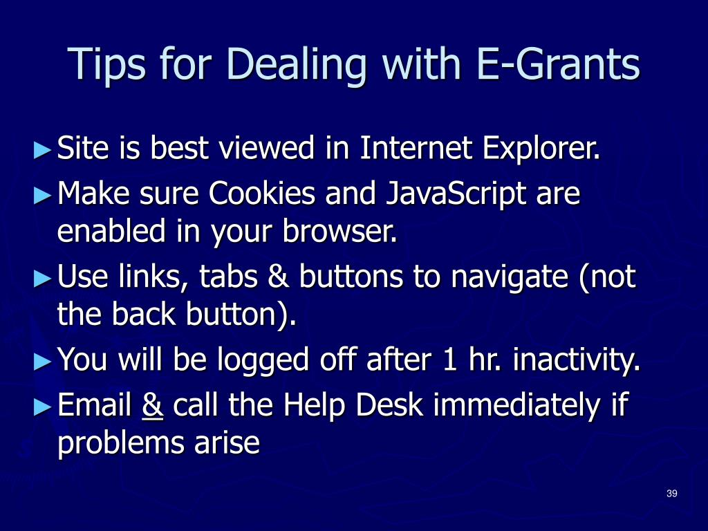 Tips for Dealing with E-Grants