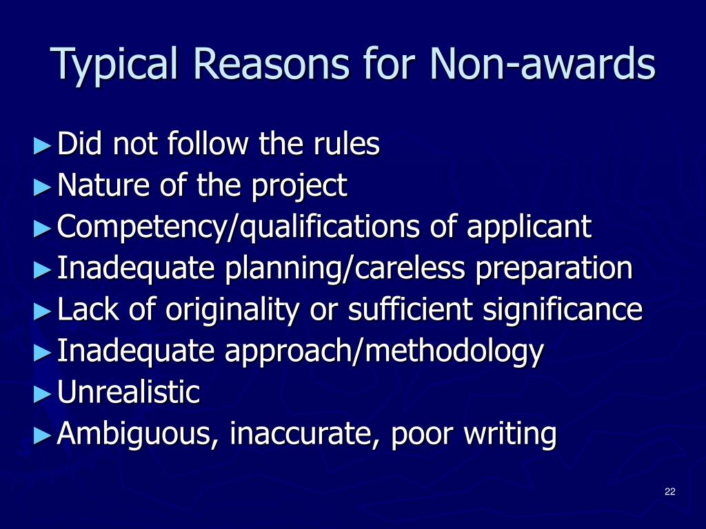 Typical Reasons for Non-awards