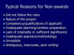 typical reasons for non awards