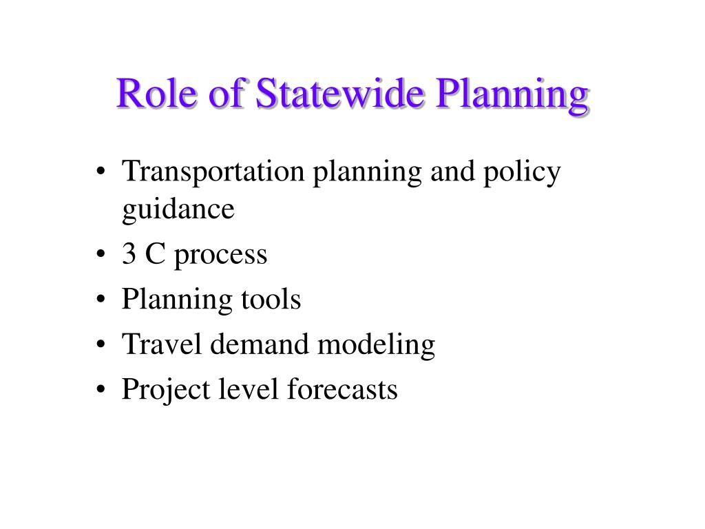 Transportation planning and policy guidance