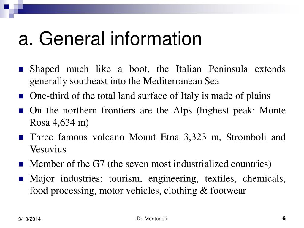 a. General information