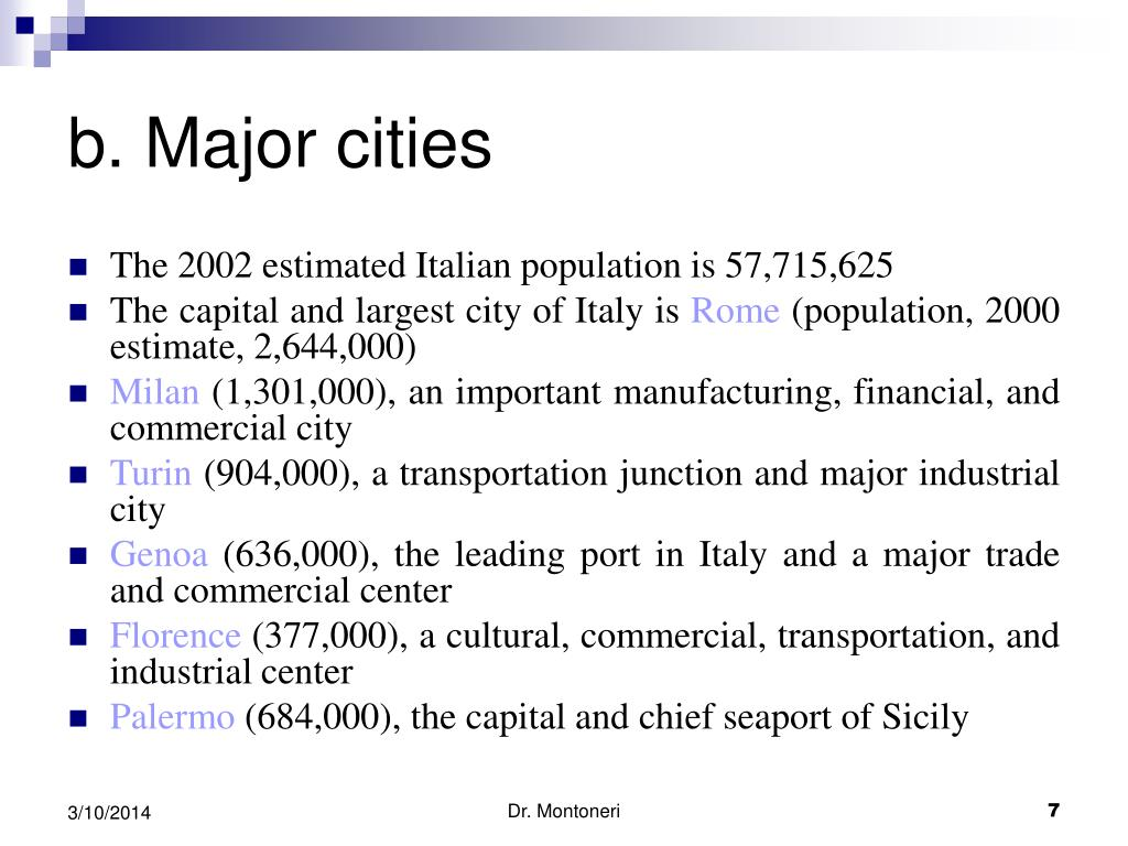 b. Major cities