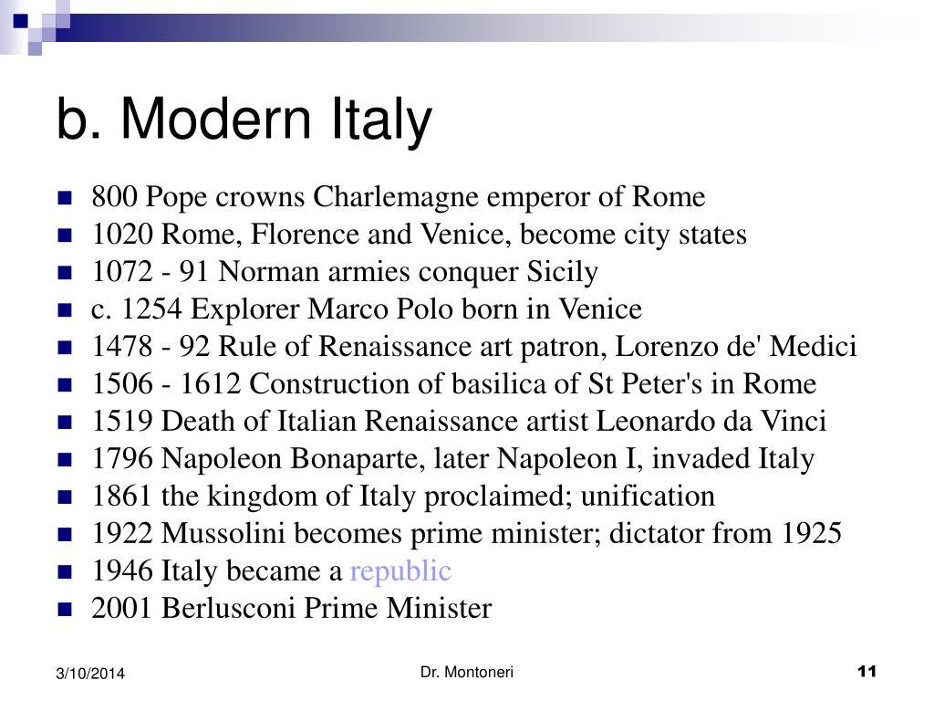 b. Modern Italy