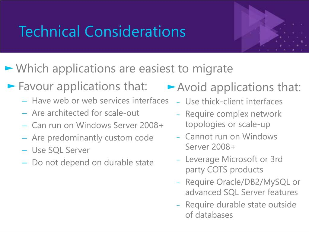 Which applications are easiest to migrate