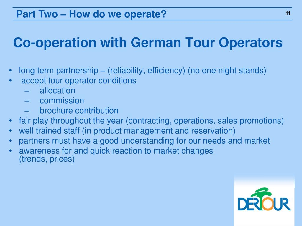 Co-operation with German Tour Operators