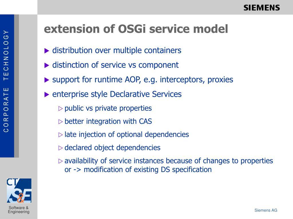 extension of OSGi service model