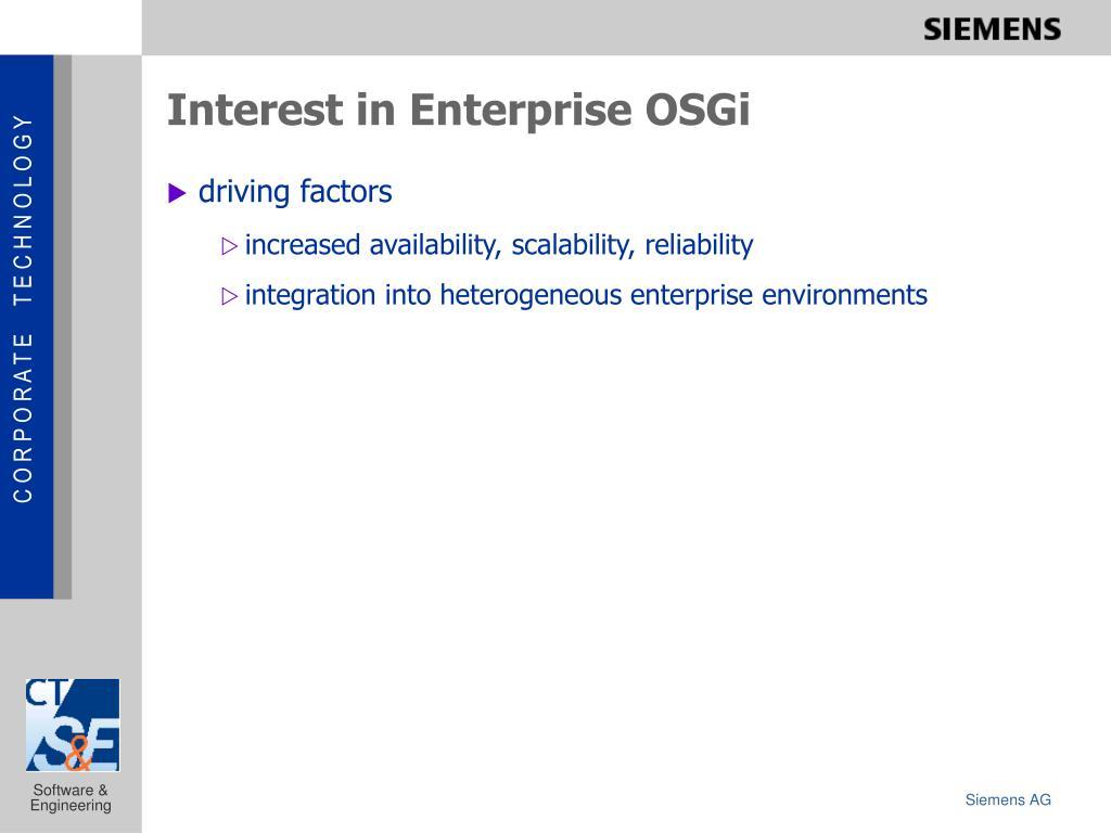 Interest in Enterprise OSGi