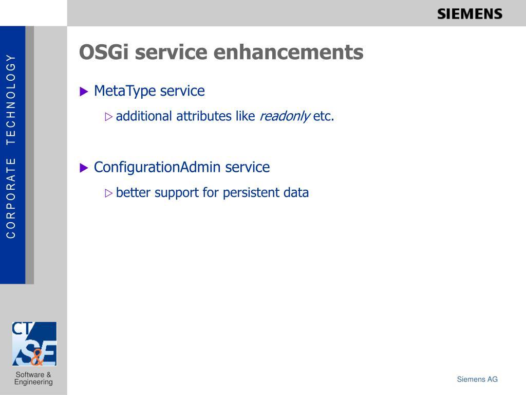 OSGi service enhancements