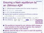 ensuring a nash equilibrium by an oblivious aqm