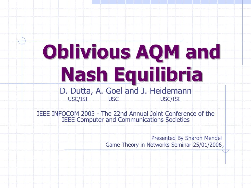 Oblivious AQM and Nash Equilibria