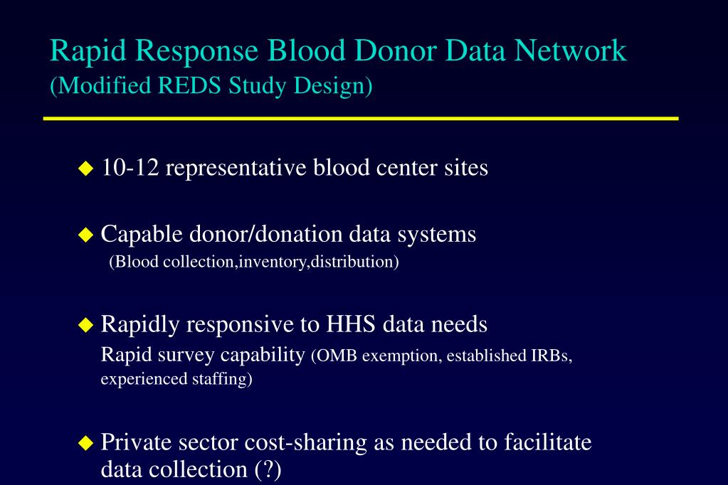 Rapid Response Blood Donor Data Network