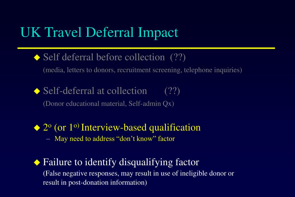 UK Travel Deferral Impact