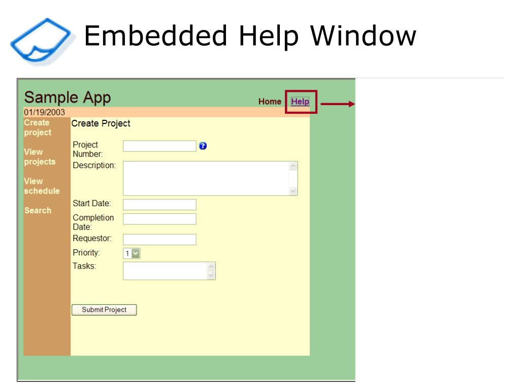 Embedded Help Window