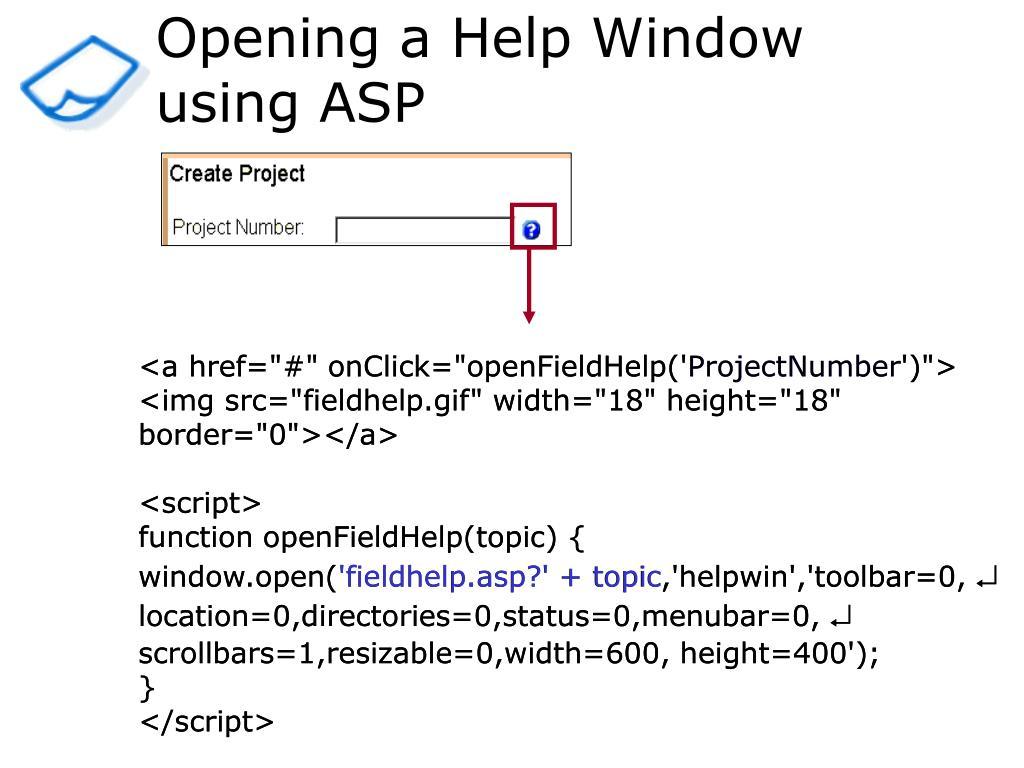 Opening a Help Window