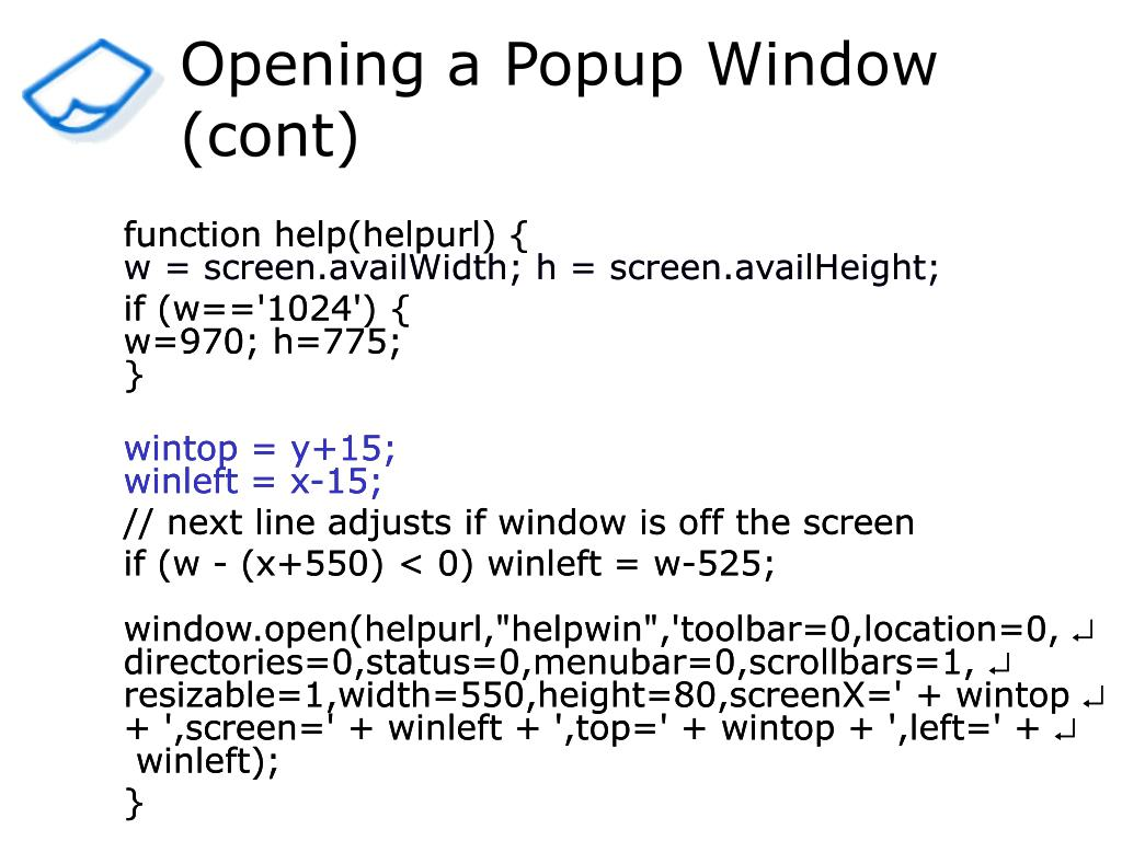 Opening a Popup Window (cont)