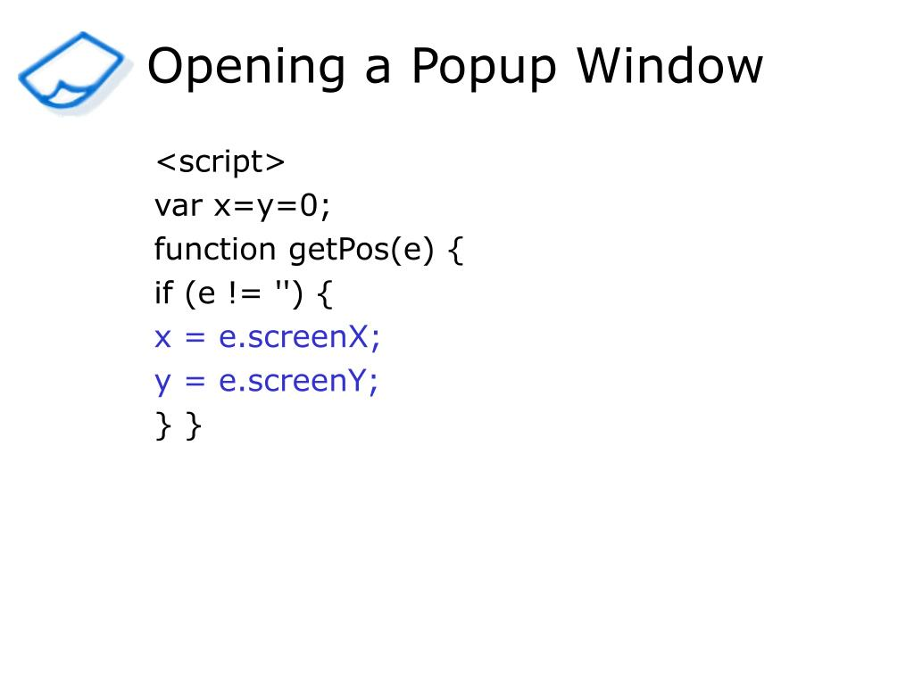 Opening a Popup Window