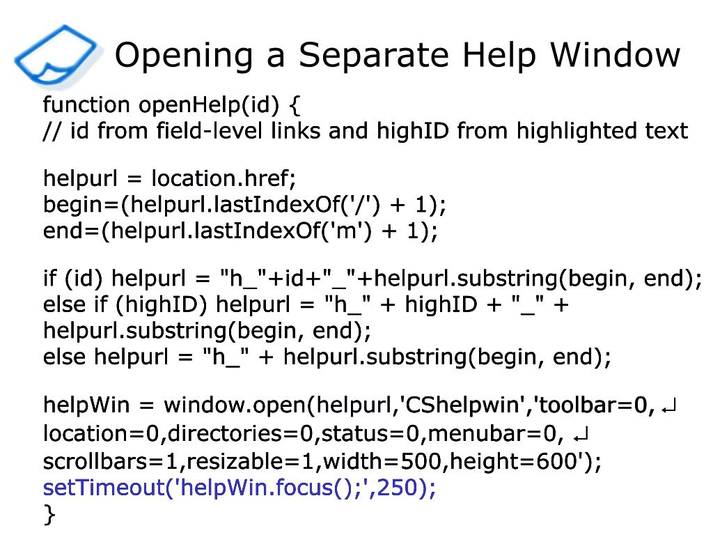 Opening a Separate Help Window
