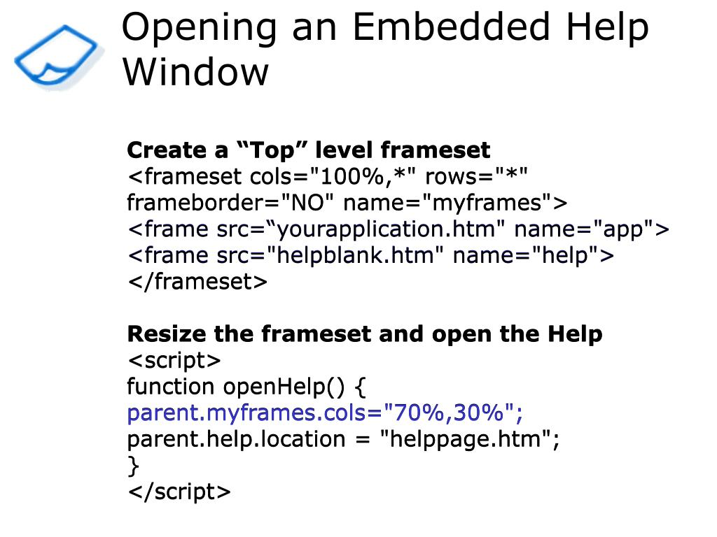 Opening an Embedded Help Window