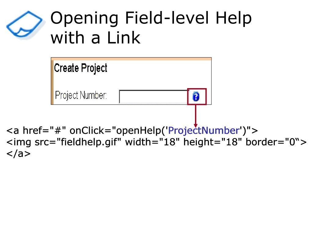 Opening Field-level Help