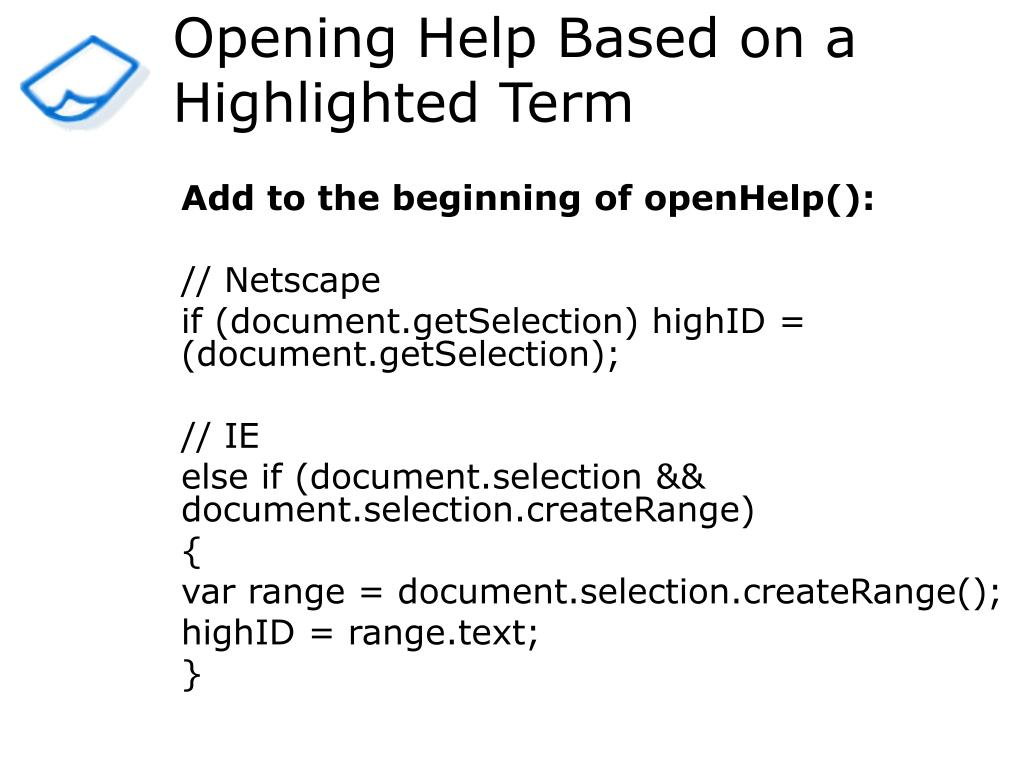 Opening Help Based on a Highlighted Term