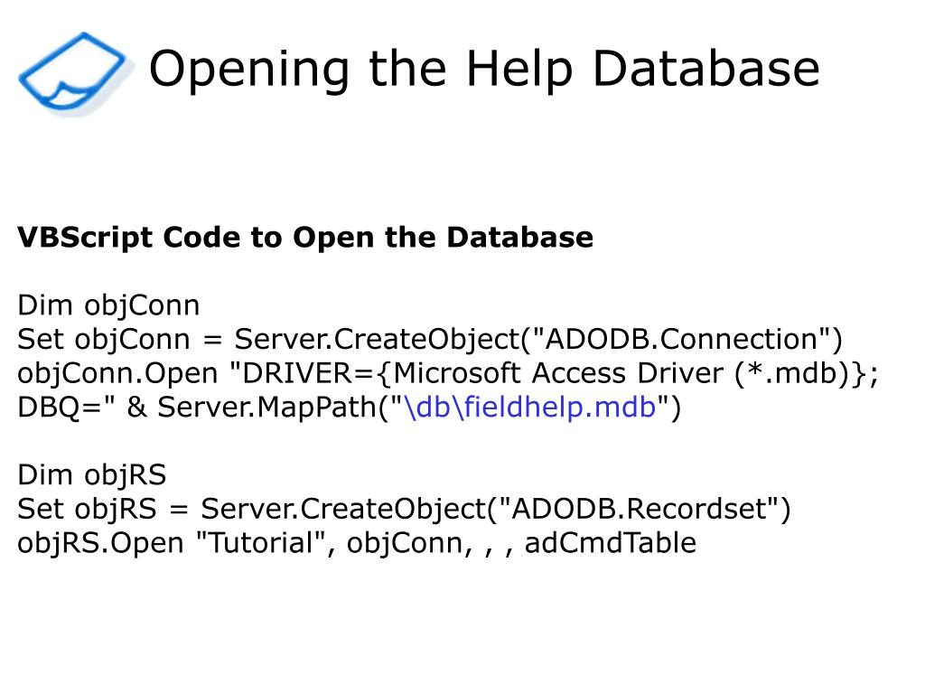Opening the Help Database