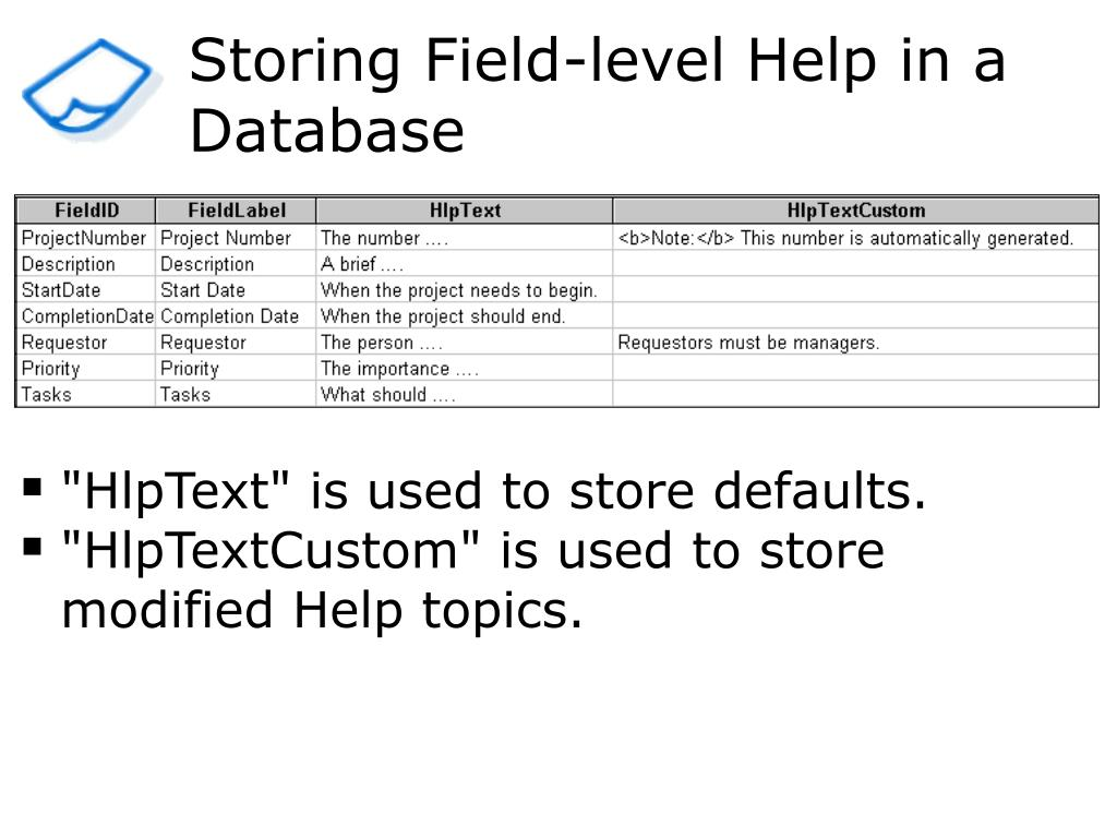 Storing Field-level Help in a Database