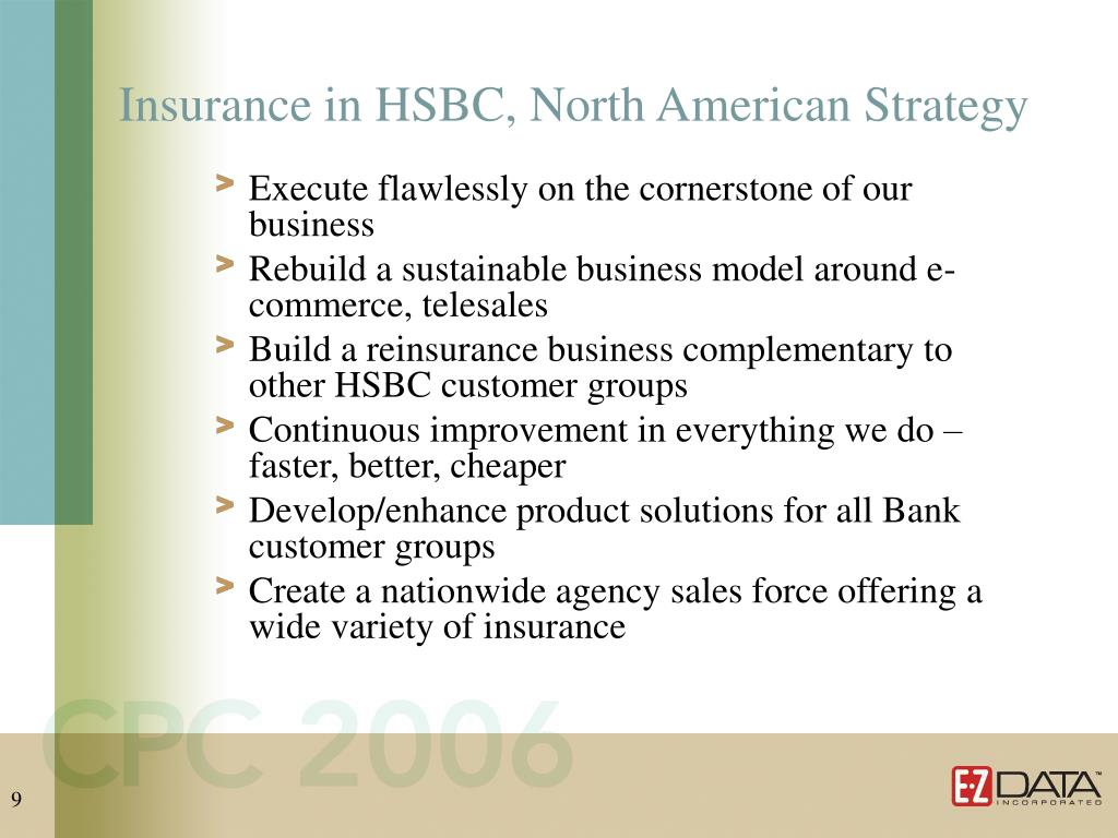 Insurance in HSBC, North American Strategy