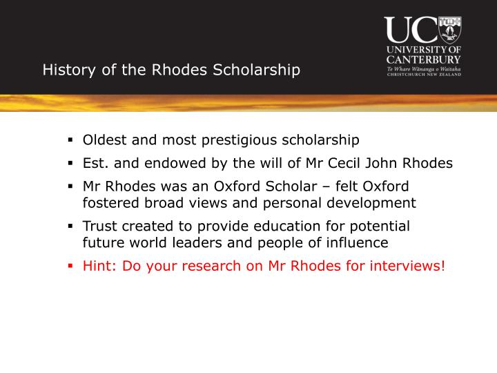 History of the rhodes scholarship