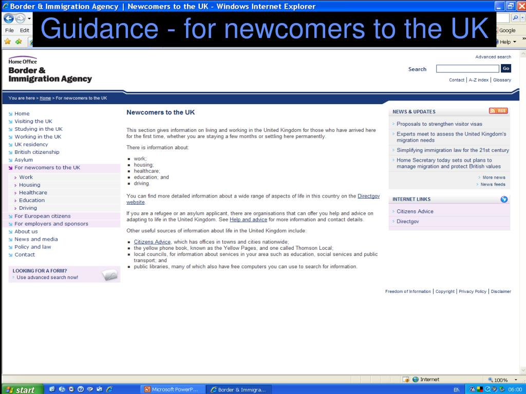 Guidance - for newcomers to the UK