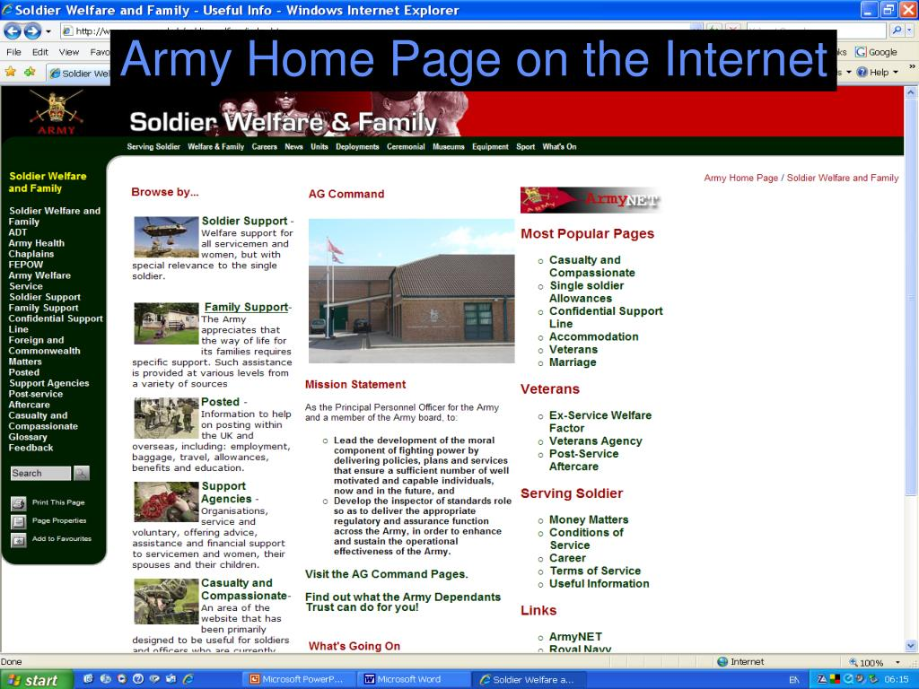 Army Home Page on the Internet