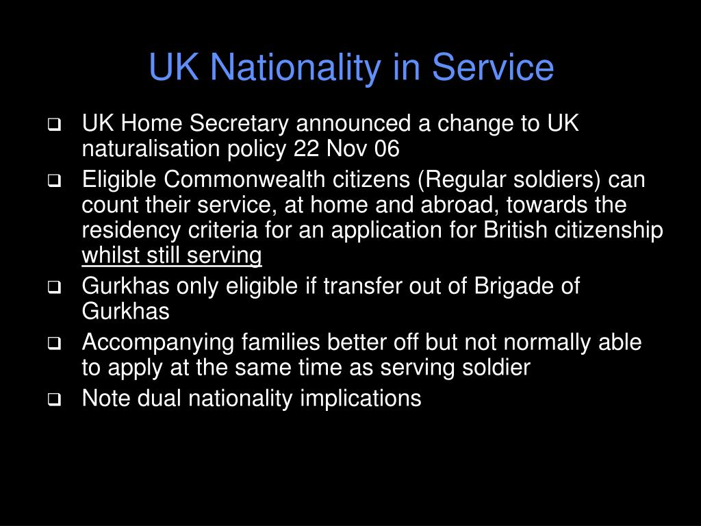 UK Nationality in Service