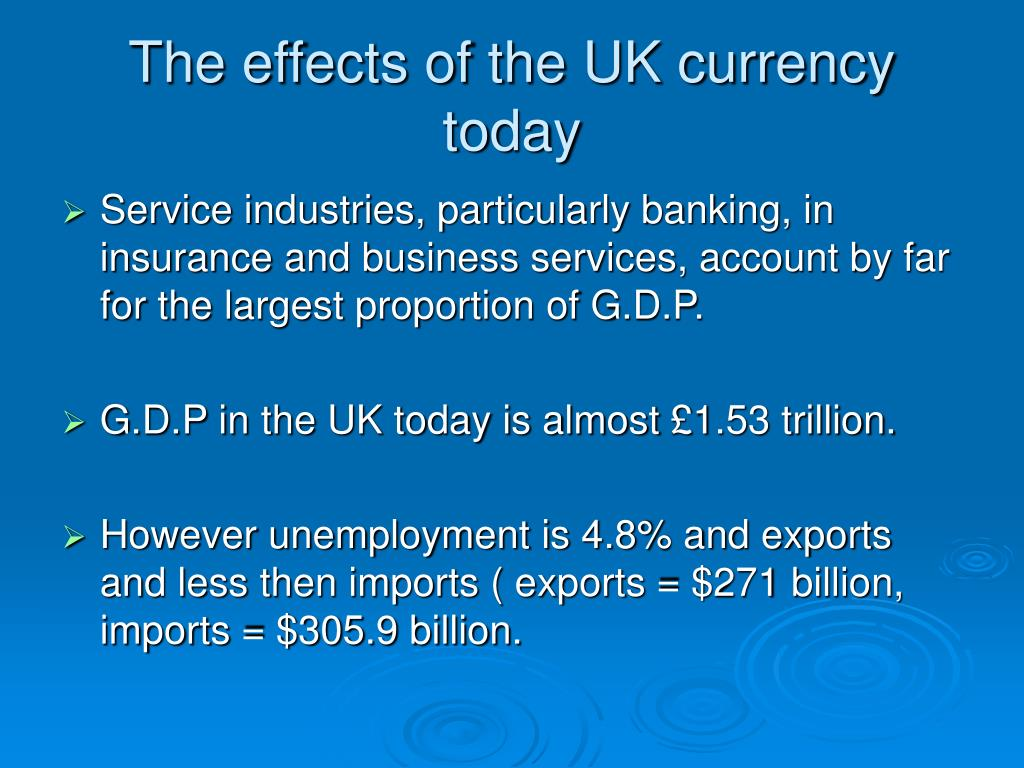 The effects of the UK currency today