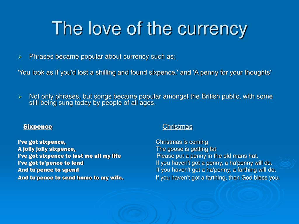 The love of the currency
