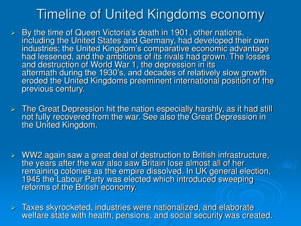 Timeline of United Kingdoms economy