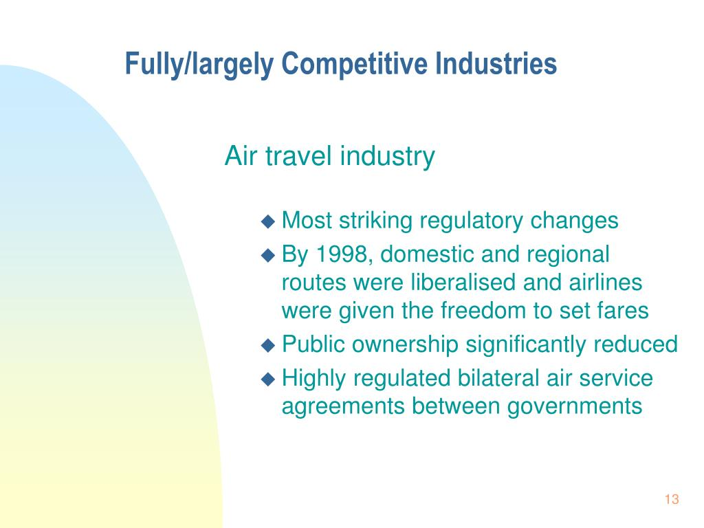 Fully/largely Competitive Industries