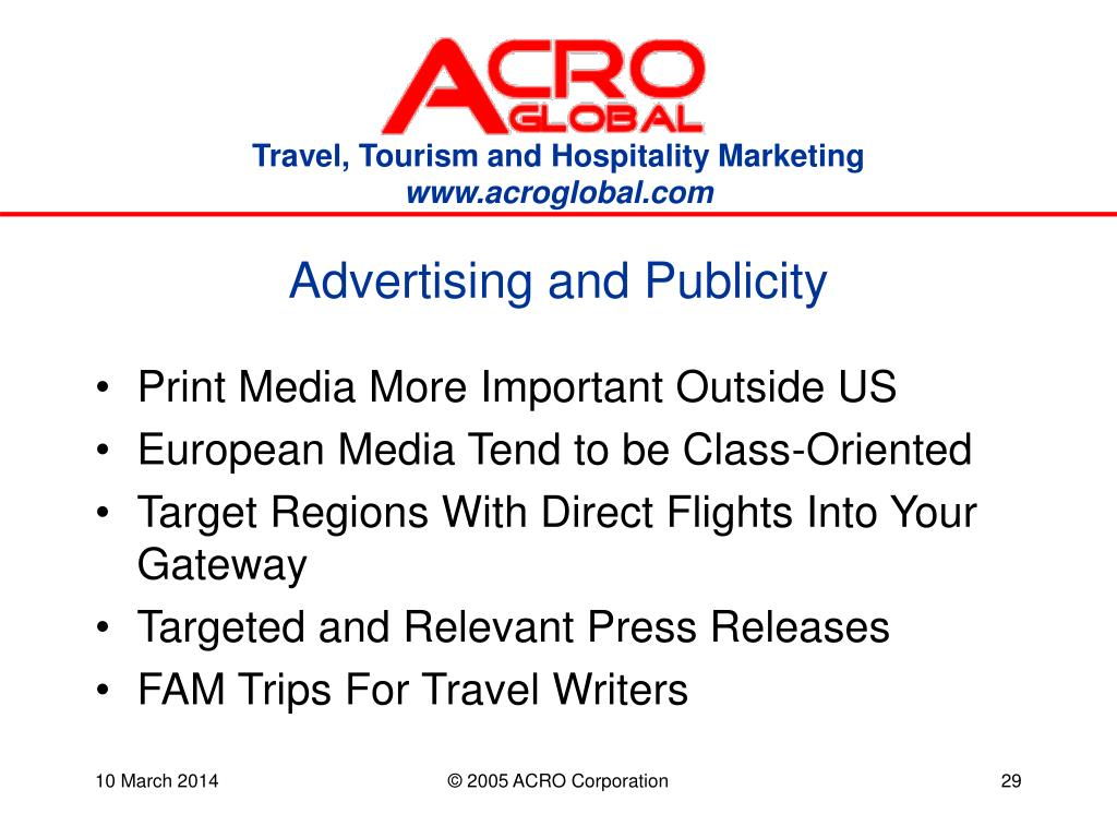Advertising and Publicity